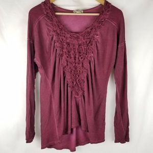 Live and let live Embroidered Long Sleeve Pink Top
